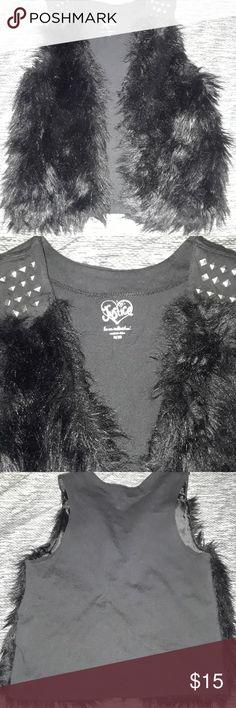 Justice girls studded fur vest 8/10 Cute faux fur vest silver studs above fur 8-10 cotton back Justice Jackets & Coats Vests
