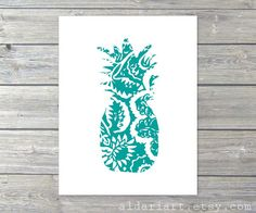 Pineapple Art Print -  Simple Modern Kitchen Nursery Wall Art - Tropical Fruit - Teal Turquoise Blue and White on Etsy, $20.08 CAD