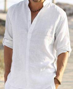 Man white groom groomsman linen shirt beach by Maliposhasamplesale