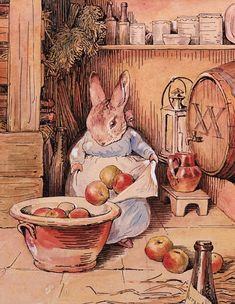 Country home that inspired young Beatrix Potter to paint on sale Beatrix Potter: Cecily Parsley brews cider-Potter's illustrations are some of the best-known characters in children's literature. Gravure Illustration, Children's Book Illustration, Beatrix Potter Illustrations, Susan Wheeler, Beatrice Potter, Peter Rabbit And Friends, Motifs Animal, Animal Paintings, Illustrators