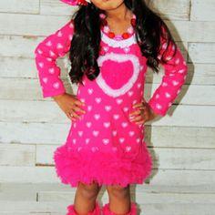 Pink ruffled heart - valentine's day dress
