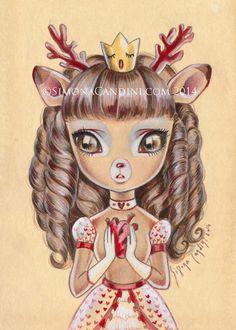 Princesse Deirdre LIMITED EDITION 25 impression signée numérotée Simona Candini lowbrow pop surréaliste gros yeux art coeur de fantaisie pour le cerf Valentine