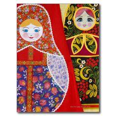 Painting of Russian Matryoshka doll Postcards
