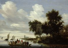 Salomon van Ruysdael | 1649 | River Landscape with Ferry