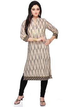 FAWN COTTON READYMADE LONG KURTA