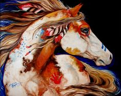 Native American War Horse ♥ Oil Painting by Marcia Baldwin, Shreveport, Louisiana