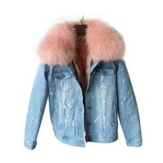 2017 Women Winter Coat Large Raccoon Fur Collar Jacket Denim Real Fox Fur Lining Outwear Brand Style Parkas