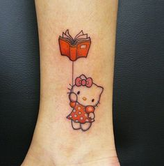 Pin for Later: The Cutest, Most Creative Hello Kitty Tattoos Bookish Kitty Tap the link for an awesome selection cat and kitten products for your feline companion! Unique Tattoos, Small Tattoos, Cool Tattoos, Tatoos, Awesome Tattoos, Geek Tattoos, Dream Tattoos, Beautiful Tattoos, Cat Tattoo