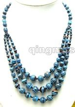 "Nobre longo 20 "" Big 4 a 12 mm pavão azul da listra 3 cordas Necklace-nec5694(China (Mainland))"