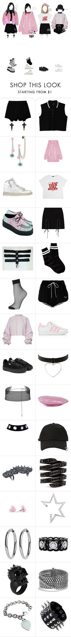 """(Melody)[Special appearance] Girl Gang at YGxUNICEF"" by k-p0p101 ❤ liked on Polyvore featuring Chicnova Fashion, Monki, Hot Topic, Ashish, Jeremy Scott, Hello Kitty, Free Press, Topshop, Off-White and adidas"