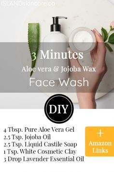 This aloe vera face wash recipe we provide can be made & used by daily routine, it's perfect for acne, dry skin, for oily skin, sensitive skin and eve Aloe Vera Face Wash, Aloe Vera Skin Care, Aloe Vera Gel, Young Living, No Shampoo Method, Anti Aging, Essential Oils For Face, Liquid Castile Soap, Baking Soda Shampoo