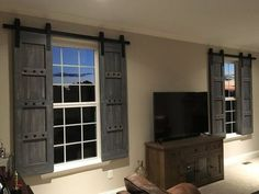Interior Window Barn Door - Sliding Shutters - Barn Door Shutters with Hardware - Farmhouse Style - Rustic Wood Shutter - Barn Door Package