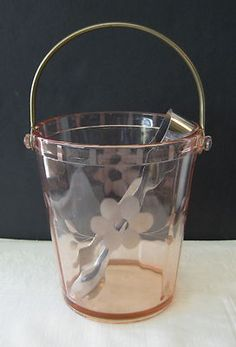 Vintage Pink Depression Glass Ice Bucket Etched Floral Metal Handle Tongs Pretty | eBay