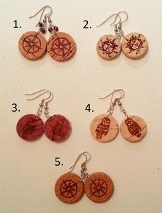Owl, Sun, & Star Wine Cork Earrings. Great, lightweight pair natural cork earrings, silver hooks, and adorned with the corks original artwork!