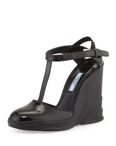 T-Strap Carved Rubber Wedge