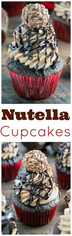 Triple Chocolate Nutella Cupcakes topped with silky chocolate ganache and a chocolate hazelnut truffle.[EXTRACT]Triple Chocolate Nutella Cupcakes topped with silky chocolate ganache and a chocolate hazelnut truffle. Nutella Cupcakes, Yummy Cupcakes, Chocolate Cupcakes, Nutella Ganache, Nutella Frosting, Amazing Cupcakes, Cream Frosting, Chocolate Muffins, Just Desserts