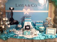 Pretty decor at a Tiffany's party!  See more party ideas at CatchMyParty.com!  #partyideas #tiffanys