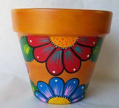 Flower Pot Art, Flower Pot Design, Clay Flower Pots, Flower Pot Crafts, Diy Flower, Flower Beds, Painted Plant Pots, Painted Flower Pots, Clay Pot Projects