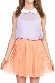 Chiffon pleated skirt in peach and a peter pan collar shirt!