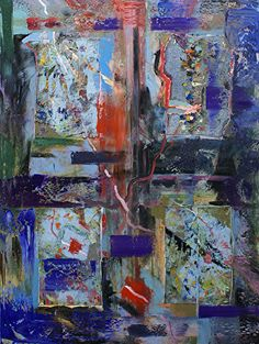 """Intersection by Donald Fox Oil with Collage ~ 40"""" x 30"""""""