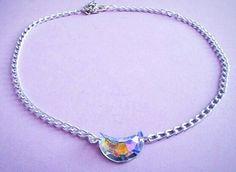 crystal crescent moon choker - moon necklace - grunge - pastel goth - kawaii