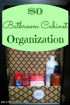 Bathroom Cabinet Organization from a tall empty diaper box..{clever}