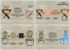 Cadeiras dos movimentos Barroco e Renascimento com características trocadas nas estampas e tons da madeira. E curiosidade dos móveis atuais que tem formas semelhantes, e que podem ter sido criadas através dos objetos do passado.