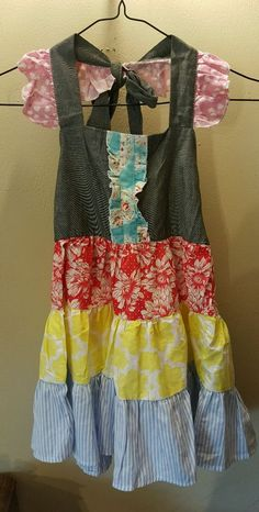 Oopsie Daisy girls 5T sleeveless summer tiered ruffled blue red yellow dress  #OopsieDaisy #CasualParty