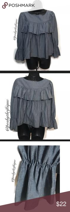Banana Republic Blue Ruffle Front Bell Sleeve Top SIZE : XS STYLE : ruffle front top, long sleeve bell sleeve blouse BRAND : Banana Republic MATERIAL : 100% cotton COLOR : blue MEASUREMENTS: Length - Approx: 18.5'' Bust - Approx: 38'' Sleeve Length - 24'' CONDITION: New Without Tags COUNTRY OF MANUFACTURER: Portugal SMOKE FREE & PET FREE ENVIRONMENT All Items Are Steamed Cleaned & Packaged Witth Extreme Care. Banana Republic Tops Blouses