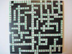 Customized crossword puzzle tile.