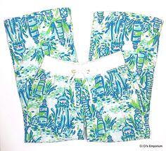 Lilly Pulitzer High Beams Beach Pants Size Medium Lighthouses Blue Green Linen #LillyPulitzer #WideLeg