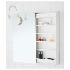 IKEA BRICKAN Mirror cabinet White 40x73 cm Take a look in the mirror and reach your belongings at the same time, as the cabinet opens by sliding it to...