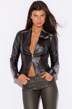 LUCID REALITY | black liquid faux leather wet look fitted golden zipper long sleeve blazer top - 1015store.com