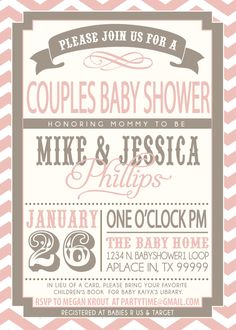 COUPLES BABY SHOWER invitation - pink and grey. $18.00, via Etsy.