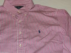 Mens Polo Ralph Lauren classic fit XXL long sleeve Shirt raspberry white striped #PoloRalphLauren #ButtonFront