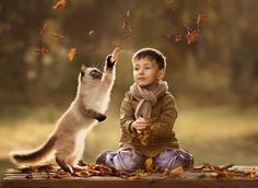 Photograph *** by Elena Shumilova on 500px -  Boy with playfull cat