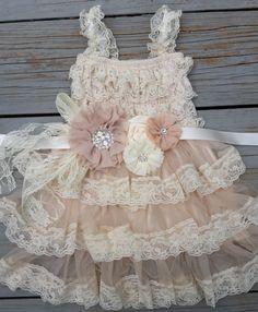 Lace Flower Girl Dress -Champagne Flower Girl Dress-Shabby Chic Flower Girl…