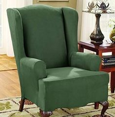Sure Fit Stretch Suede - Wing Chair Slipcover - Dark Gre.