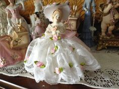 Victorian dressed half doll with white dress by cindysvictorian