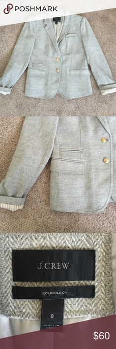 J. CREW Schoolboy Blazer size 8 In great condition. This J. Crew Schoolboy blazer size 8 featured gold buttons, fully lined, and is a gorgeous gray tailored fabric. Perfect for work, for school, or for any casual/professional environment. Xoxo J. Crew Jackets & Coats Blazers