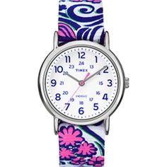 Timex Weekender Full-Size Watch - Reversible Floral Swirl/Blue