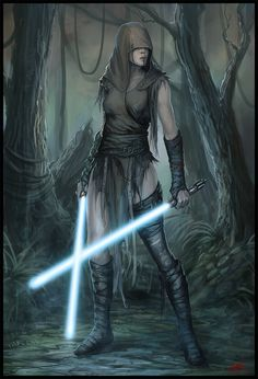 She has 2 blue lightsabers but only use's one most of the time