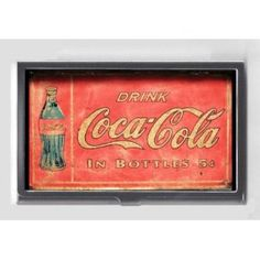 COCA-COLA EARLY TIN SIGN WITH BOTTLE RETRO Credit/Business Card Case USA MADE