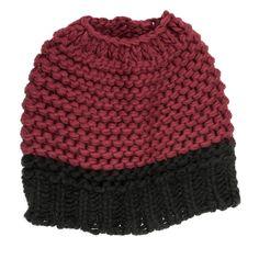 Knitted Bun Hat-Maroon/Black