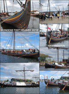 Collage with photos of the vikingship HAVHINGSTEN in Holbaek Juli 2016. Photos by Jesper Vandorf...