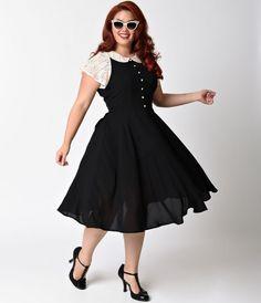 Unique Vintage Plus Size 1940s Black & Ivory Lace Cap Sleeve Marie Swing Dress