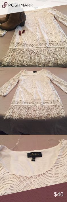 Crochet fringe tunic SO CUTE! 😍😍 Melissa Paige! Crocheted tunic with fringe at bottom. 3/4 length sleeves. I wear this as a tunic with leggings and boots! Absolutely adorable! Easy to dress up or down! Perfect closet staple 😊 melissa paige Tops Blouses