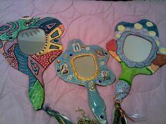 paper mache hand mirrors
