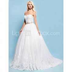 I love this--the bottom is so feminine but I think I want the lower waist. [USD $ 147.49]  Ball Gown Sweetheart Chapel Train Lace And Tulle Wedding Dress