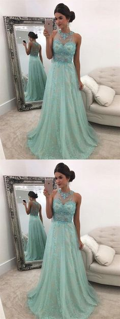2019 New Arrival Scoop Neck Lace A-Line Prom Dresses With Sweep Train Zipper Up, This dress could be custom made, there are no extra cost to do custom size and color Affordable Prom Dresses, A Line Prom Dresses, Tulle Prom Dress, Junior Bridesmaid Dresses, Cheap Prom Dresses, Prom Party Dresses, Blue Dresses, Evening Dresses, Girls Dresses